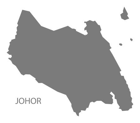 Johor Malaysia Map grey Illustration