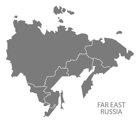 far east: Far East Russia with borders Map grey