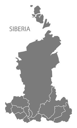 siberia: Siberia Russia with borders Map grey