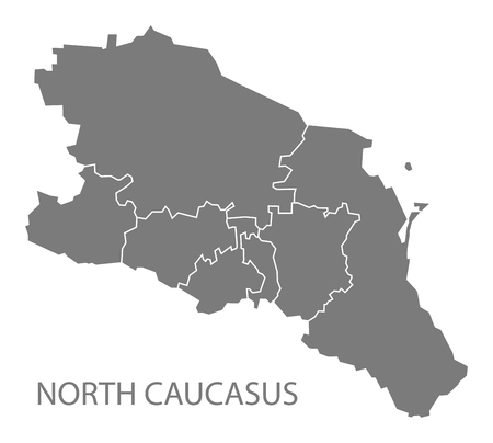 russia map: North Caucasus with borders Russia Map grey