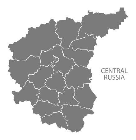 russia map: Central Russia with borders Russia Map grey