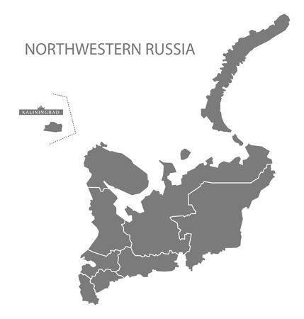 northwestern: Northwestern Russia with borders Map grey