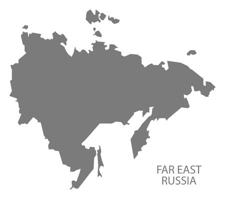 lejano oriente: Extremo Oriente de Rusia Mapa en gris