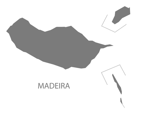madeira: Madeira Portugal Map in grey Illustration