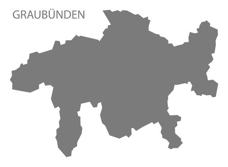 canton: Graubuenden Switzerland Map grey Illustration