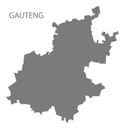 gauteng: Gauteng South Africa Map grey