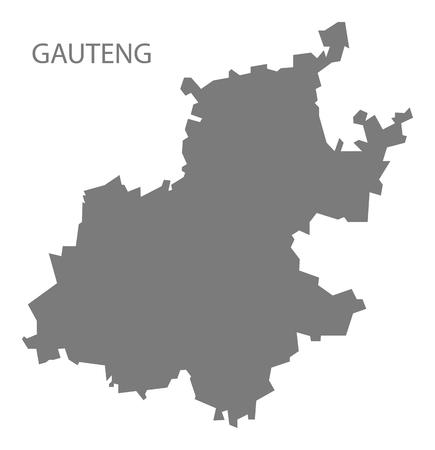 south africa map: Gauteng South Africa Map grey