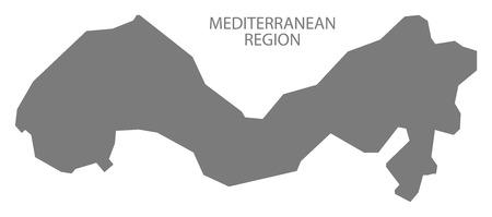 region: Mediterranean Region Turkey Map grey Illustration
