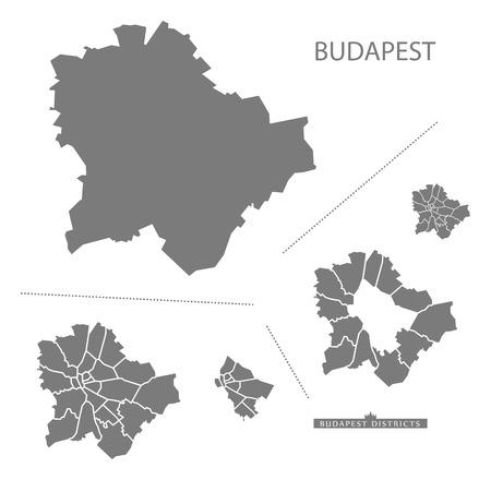 灰色でブダペスト ハンガリー地図