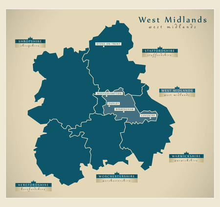 midlands: Modern Map - West Midlands UK