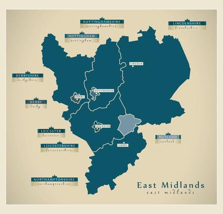 Carte moderne - East Midlands au Royaume-Uni