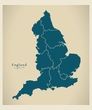 modernity: Modern Map - England with counties UK Illustration