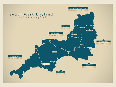 現代の地図 - サウス ・ ウェスト ・ イングランド英国