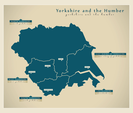 yorkshire and humber: Modern Map - Yorkshire and the Humber UK Illustration