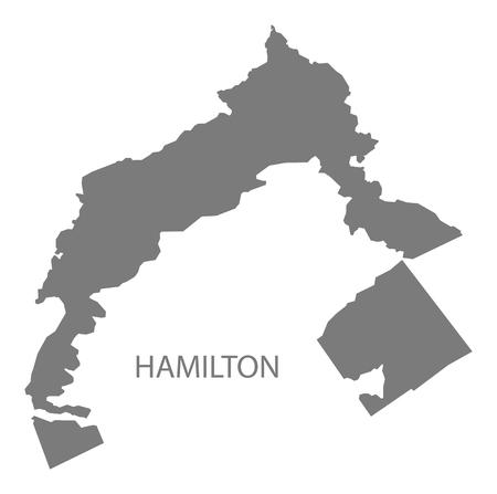hamilton: Hamilton Bermuda Map in grey