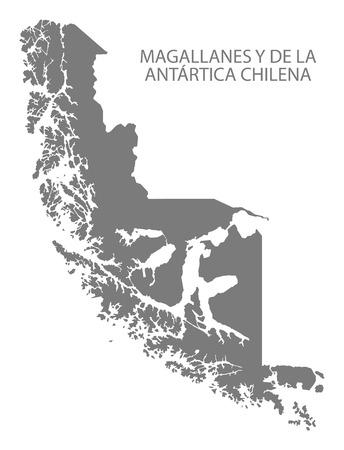 magallanes: Magallanes y de la Antartica Chilena Chile Map in grey Illustration