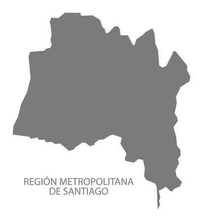 Region Metropolitana de Santiago du Chili Carte en gris