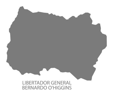 general: Libertador General Bernardo O Higgins Chile Map in grey Illustration