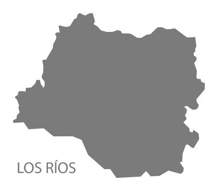 Los Rios Chile Map in grey Ilustração