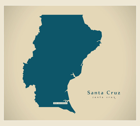 santa cruz: Modern Map - Santa Cruz AR Illustration