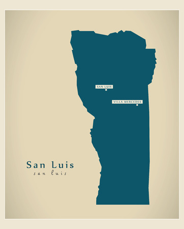 ar: Modern Map - San Luis AR Illustration