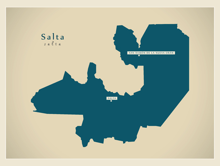 ar: Modern Map - Salta AR Illustration
