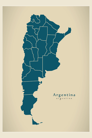 Modern Map - Argentina with federal districts AR