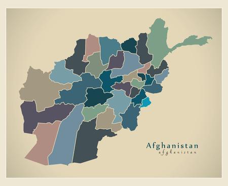 provinces: Modern Map - Afghanistan with provinces colored AF Illustration