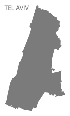 tel aviv: Tel Aviv Israel Map grey
