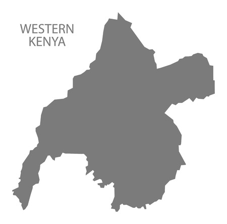 kenya: Western Kenya Map grey