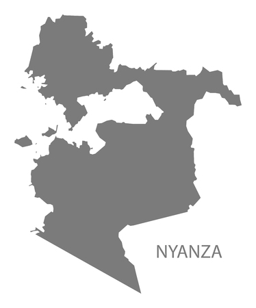 kenya: Nyanza Kenya Map grey