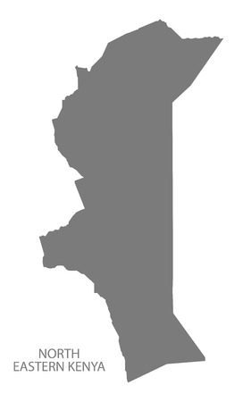 kenya: North Eastern Kenya Map grey