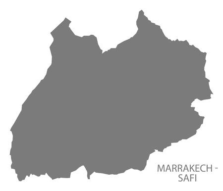 marrakech: Marrakech - Safi Morocco Map grey