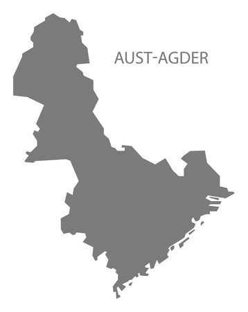 norway: Aust-Agder Norway Map grey Illustration