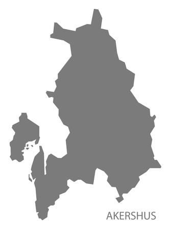 norway: Akershus Norway Map grey