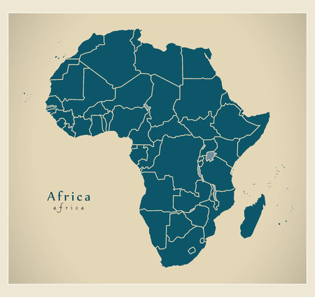 frontiers: Modern Map - Africa continent with frontiers