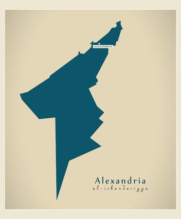 modernity: Modern Map - Alexandria Egypt Illustration