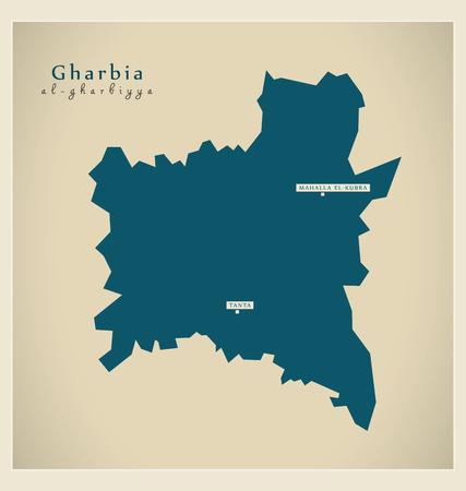 Modern Map - Gharbia Egypt Illustration