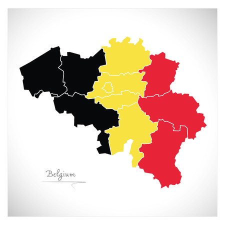 national colors: Belgium map artwork with national colors illustration Stock Photo