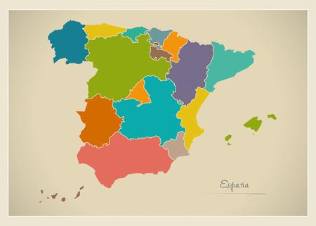 スペイン地図アートワークのカラー イラスト