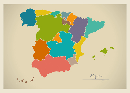Spain map artwork color illustration 스톡 콘텐츠