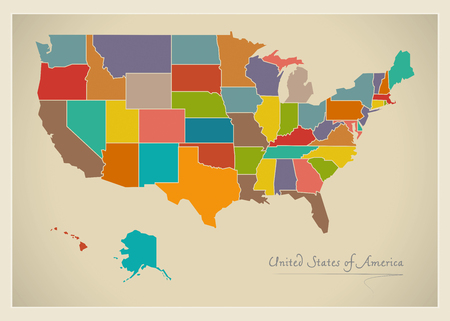 65018869 usa map artwork color illustration