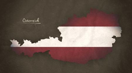 austria map: Austria map special vintage artwork style with flag illustration Stock Photo