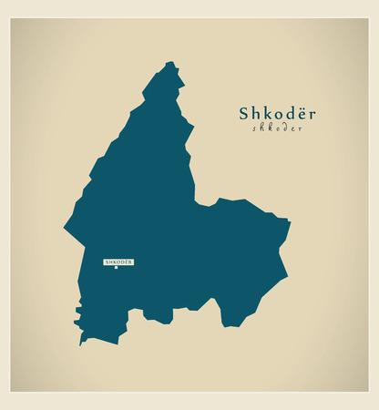 federation: Modern Map - Shkoder AL Illustration