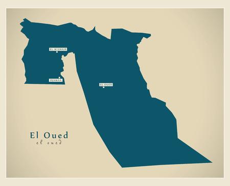 el: Modern Map - El Oued DZ Illustration