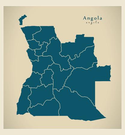 provinces: Modern Map - Angola with provinces AO