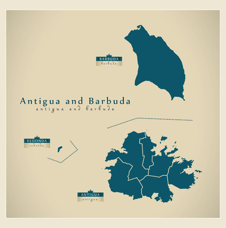 ag: Modern Map - Antigua and Barbuda regions AG