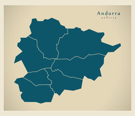 districts: Modern Map - Andorra with districts AD