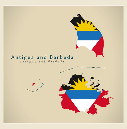 antigua and barbuda: Modern Map - Antigua and Barbuda colored AG
