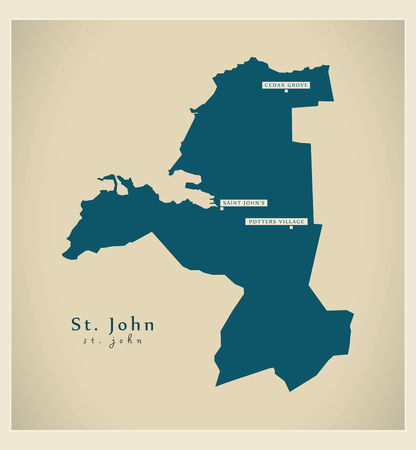 st john: Modern Map - St. John AG Illustration